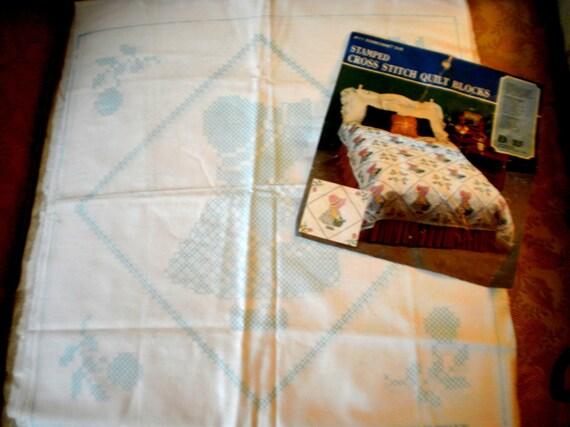3 17 Inch Sun Bonnet Sue Stamped Cross Stitch Blocks