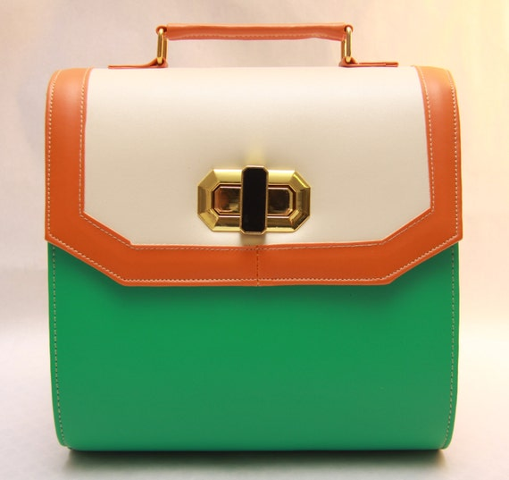 Green/Tangerine Colour Block shoulder bag Spring/Summer 2012