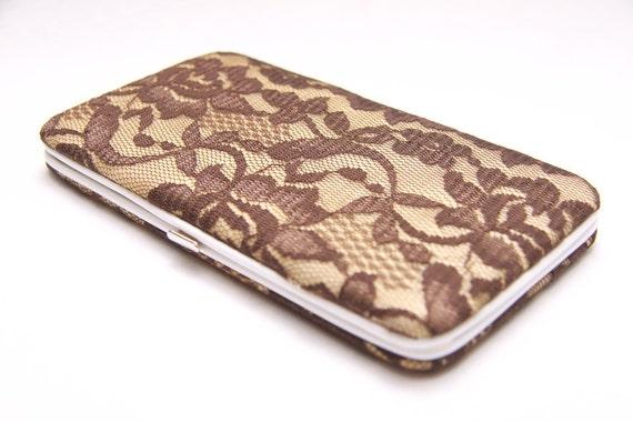 Vintage Brown Flower Lace Wallet