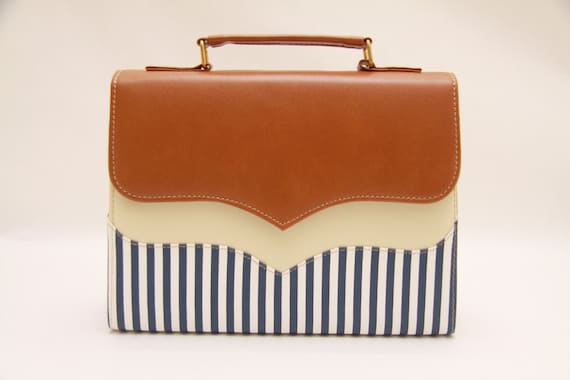 Summer time,vintage brown,chocolate,messenger bag,vintage messenger bag,stripes fabric,white stripes,blue and white,blue and brown,brown