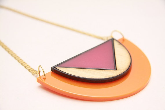 Geometric necklace, statement necklace, wood necklace, choker necklace, tangerine necklace, Fuchsia, summer blocks, color block, geometric