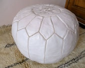 WHITE POUF (leather)  :hand stitched / embroidered