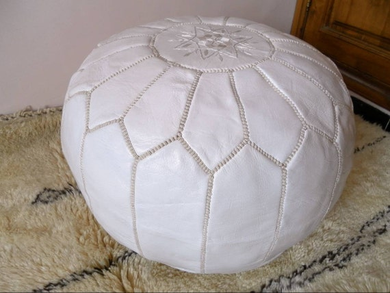 Couple of 2 LEATHER POUFS ( also called ottomans footstool floor pillow) W