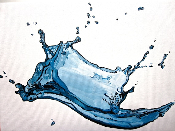 moving water- acrylic painting