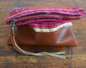 SAIGON Clutch - Unique Handmade Bohemian Fabric and Leather  - Environmentally Conscious    (purse/bag/pouch/handbag/designer)