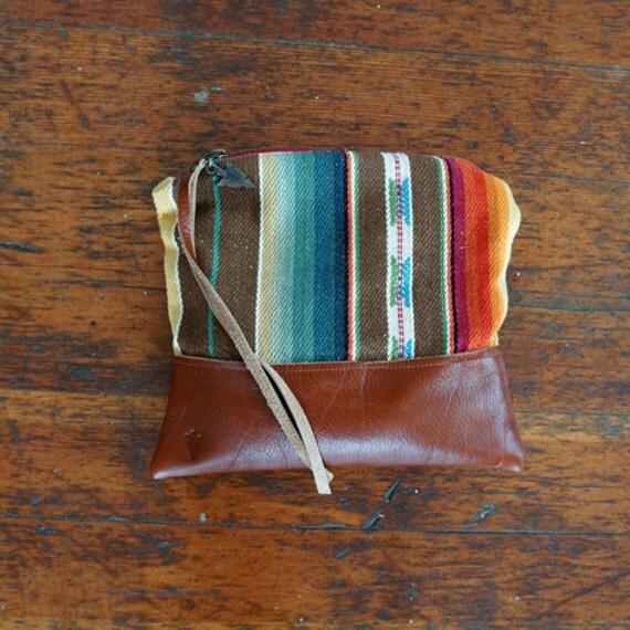 Santa Fe Clutch - Unique Handmade Bohemian Fabric and Leather  - Environmentally Conscious    (purse/bag/pouch/handbag/designer)
