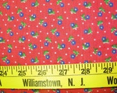 Cherry Red Gingham with Blue Flowers   VFA-295