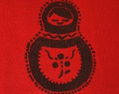 MATRYOSHKA RUSSIAN DOLL Hand Screen Printed Applique - Black Pigment Paint on Red Wool Double Knit Jersey