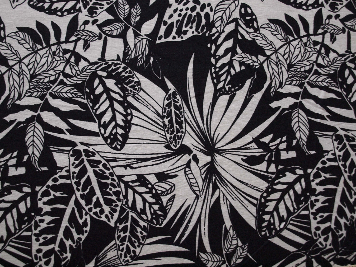 Hawaiian Floral Print Black and Cream Linen Cotton Blend