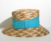 ANTIQUE / VINTAGE Summer Straw Hat / Boater Hat / Wide Brim Bucket Hat