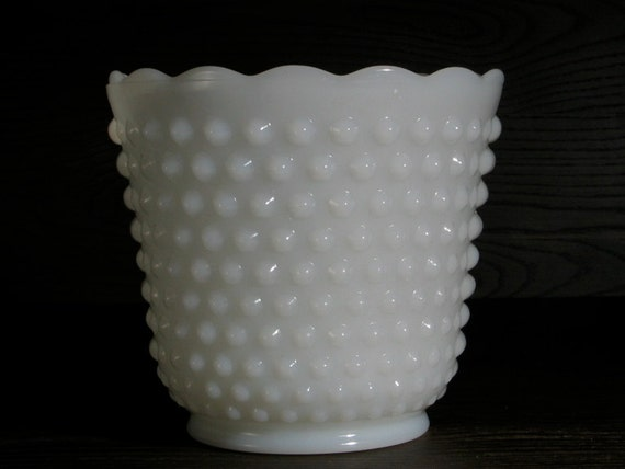 Hobknob Milk Glass Ice Bucket / Flower Pot