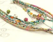 fabric necklace,multistrand necklace: colourful fabric necklace, braided neck ornament.
