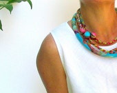 colorful braided necklace ,neck ornament, multy braided scarf necklace.