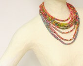 Fabric circle scarf multi -braided necklace,fabric beads,