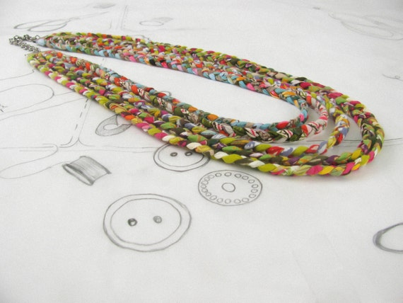 fabric necklace.multistrand necklace: colourful fabric necklace, braided into a neck ornament.