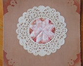 Mini Decorative Doily Collage - Pink and Taupe