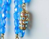Long Blue Crystal Necklace -Hattie Carnegie