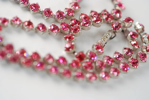 Pink Rhinestone Necklace and Bracelet Set - Kramer