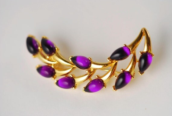 Crown Trifari Purple Teardrop Brooch