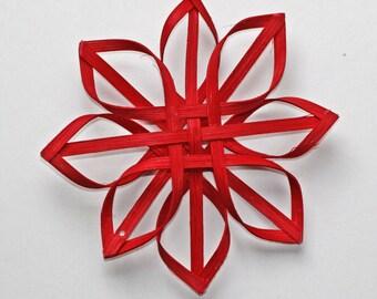small woven Carolina Snowflake in red