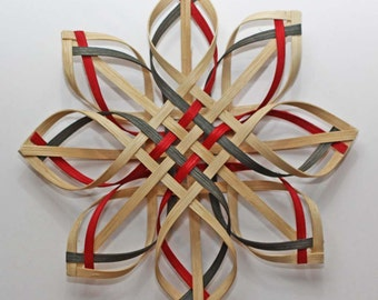 Large Woven Carolina Snowflake in walnut, red, and green