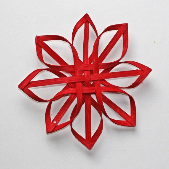 small woven Carolina Snowflake in red