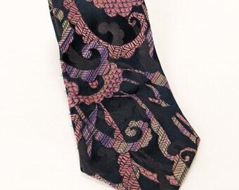 Cool Retro Swirl Pattern Purple Necktie by St Michaels - 100% Polyester