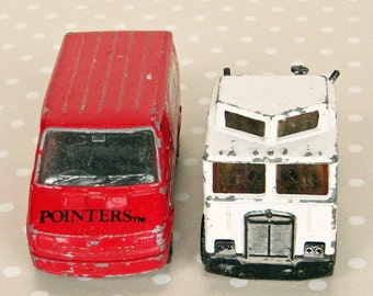 Vintage Retro Red Corgi Van and White Matchbox Double Cabin Matchbox Lesney Truck 80s and 90s