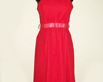 Vintage Retro Red Polka Dot Strap Sun Dress with Matching Belt - Cool 80s