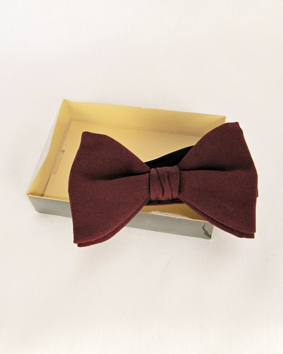 Vintage Burgundy Dark Red Acetate Pre-Tied Adjustable Dandy Bow Tie by AKCO - Boxed