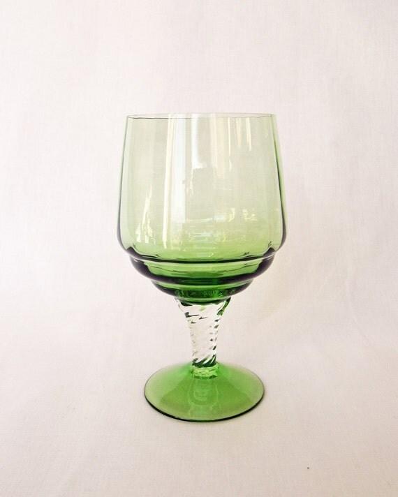 Vintage Retro Large Twist Stem Green Glass Goblet