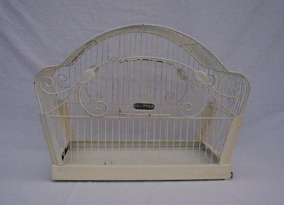 Shabby Chippy White Wire Bird Cage
