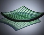 fused glass plate with the green stripes