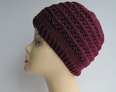 Wool Maroon Heather Knit Hat with Inset Stitches
