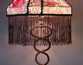 Black Orchid - Eclectic, New World, One of A Kind Lampshade w/ Base