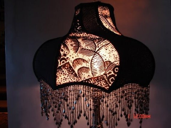 """Contemporary Designer, Stunning One of A Kind Lampshade w/ Base - """"Black Magic Lady"""""""