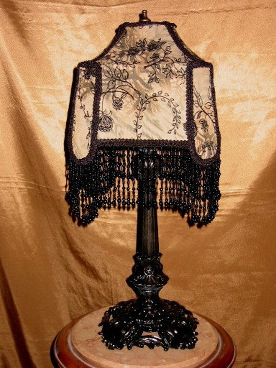"Victorian Casablanca Style,  One of A Kind Lampshade w/ Base - ""Romantic Rendezvous"""