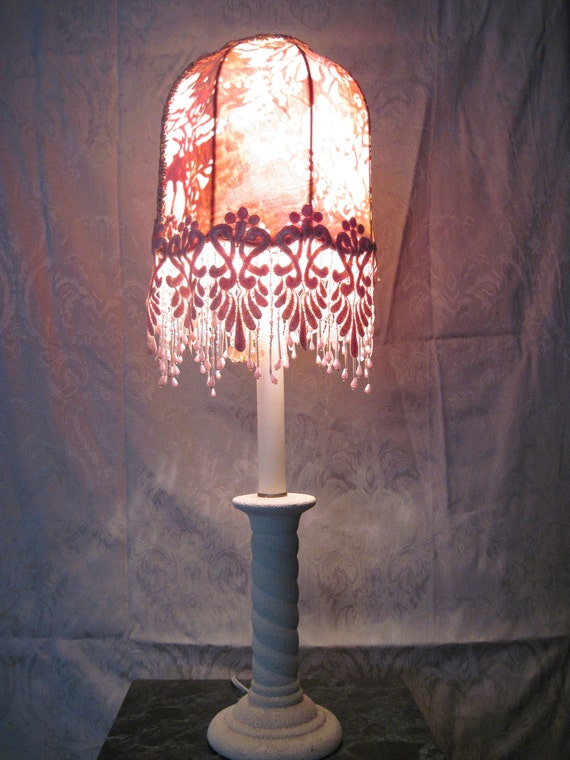 """Stunning Little Lamp,  One of A Kind Lampshade w/ Base - """"Passion"""""""