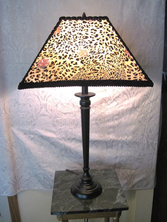 """Oriental Style Lamp,  One of A Kind Lampshade w/ Base - """"Orient Express"""""""