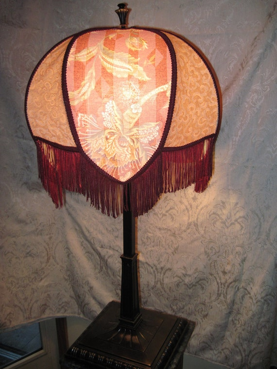 """Large, Very Unique shaped Lampshade,  One of A Kind Lampshade w/ Base - """"Radiant Ruby"""""""