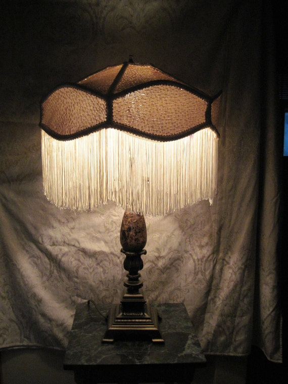 """Classic Old World Style Lampshade,  One of A Kind Lampshade w/ Base - """"Umbrella Eyes"""""""