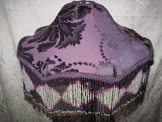 """Gorgous Eclectic Table Lamp,  One of A Kind Lampshade w/ Base - """"Parasol of Passion"""""""