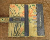 ON SALE... flapper era 20's sewing needle case with lovely marbleized leather outside