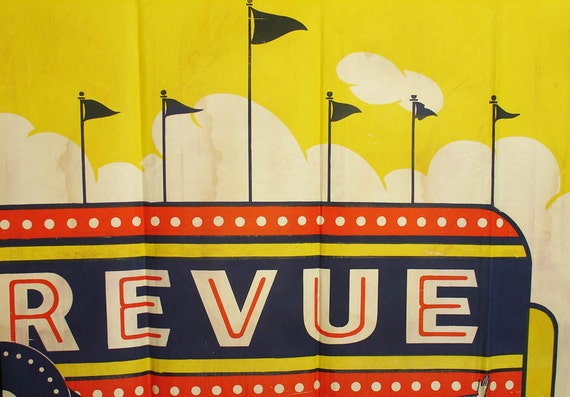 """vivid yellow 1940's carnival poster """"revue"""" sideshow"""