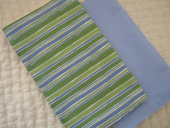 Baby Boy Burp Cloth Stripe Set of 2, Blue Green White READY TO SHIP Free Shipping