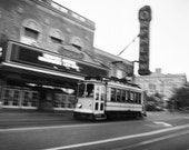 8x10 print - Trolley in Motion - Memphis, TN, black & white art photography
