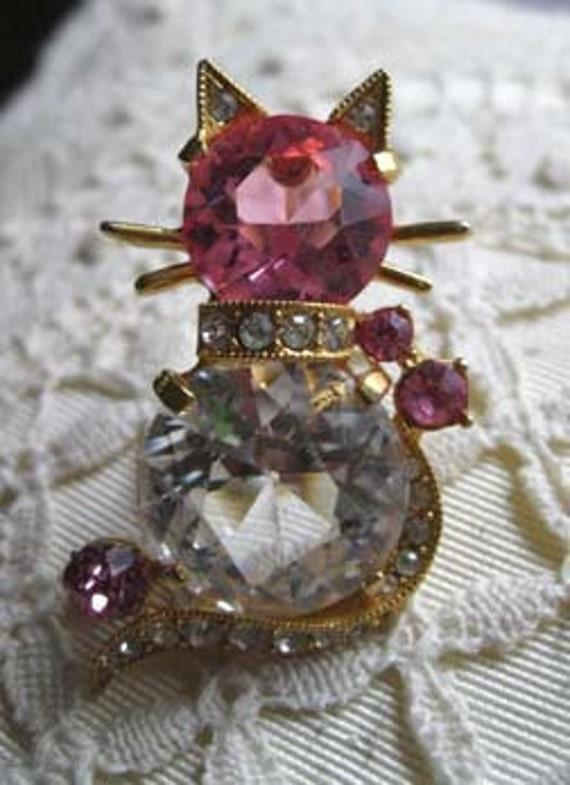 Eisenberg '50s cat brooch pink glass and rhinestones