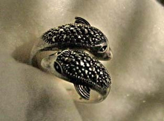 Sterling Marcasite ring, leaping twin Dolphin Porpoise bypass design