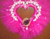 "17"" Heart Shaped Valentine Tulle Wreath Fuschia"