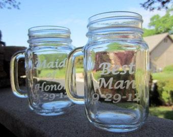 Mason Jar Mug, Wedding, Maid of Honor and Best Man
